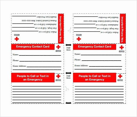 Medical Alert Card Template New Contact Card Template Free Printable Word Emergency
