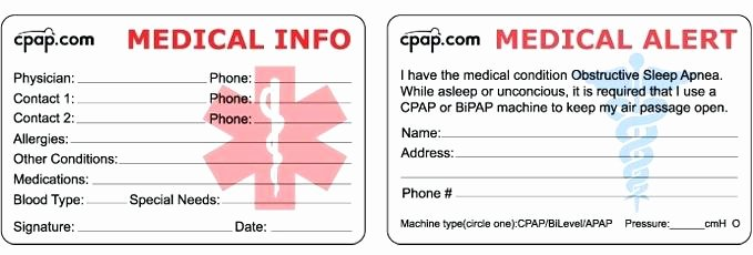 Medical Alert Card Template New Wallet Id Card Template Medical Emergency for Alert