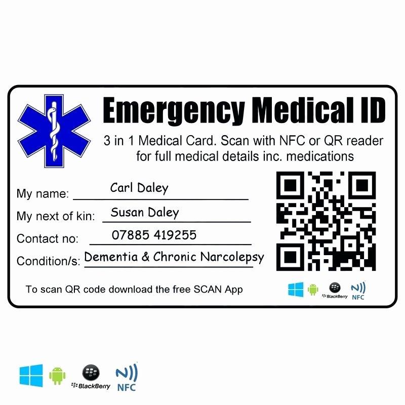 Medical Alert Card Template Unique Medical Alert Card Template Printable Emergency Home