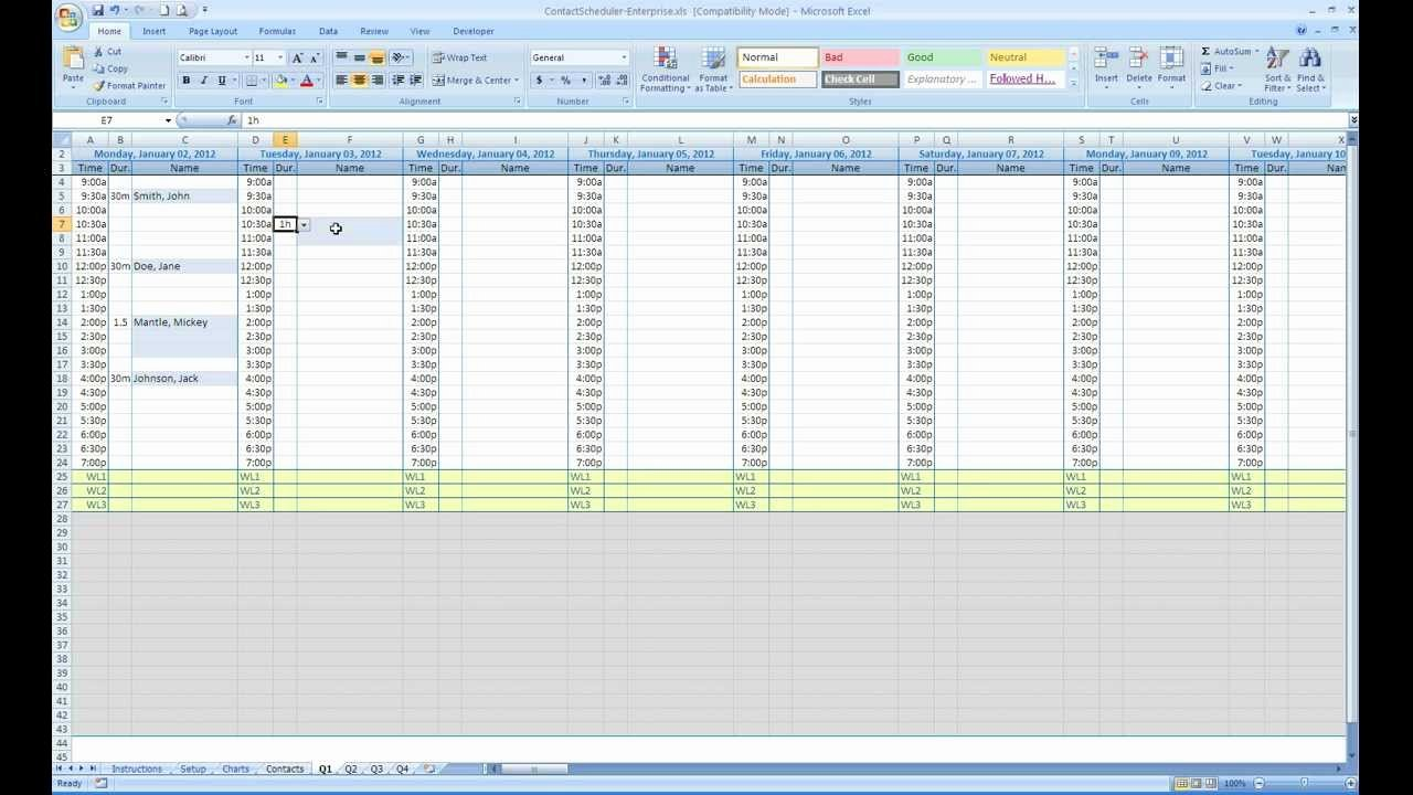 Medical Appointment Scheduling Template Fresh Free Excel Contact Appointment Scheduler
