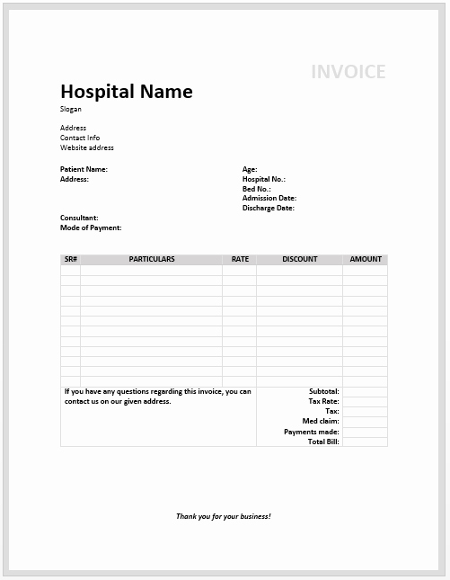 Medical Bill Statement Template Best Of Medical Invoice Template