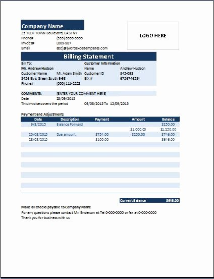 Medical Bill Statement Template Inspirational Invoice Statement Template