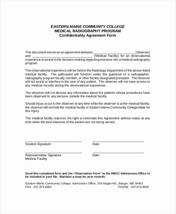 Medical Confidentiality Agreement Template Beautiful 10 Medical Confidentiality Agreement Templates – Free