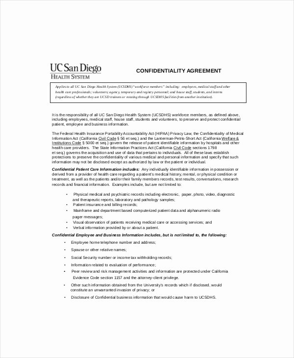 Medical Confidentiality Agreement Template Beautiful 10 Patient Confidentiality Agreement Templates – Free