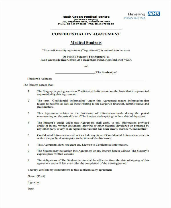 Medical Confidentiality Agreement Template Best Of 11 Medical Confidentiality Agreement Free Word Pdf
