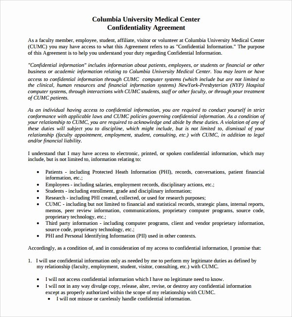 Medical Confidentiality Agreement Template Elegant 8 Medical Confidentiality Agreements