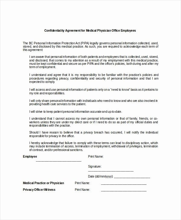 Medical Confidentiality Agreement Template Elegant Medical Confidentiality Agreement