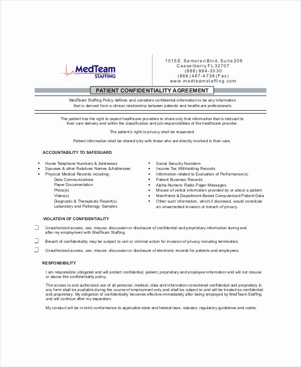 Medical Confidentiality Agreement Template Elegant Patient Confidentiality Agreement – 10 Free Word Pdf