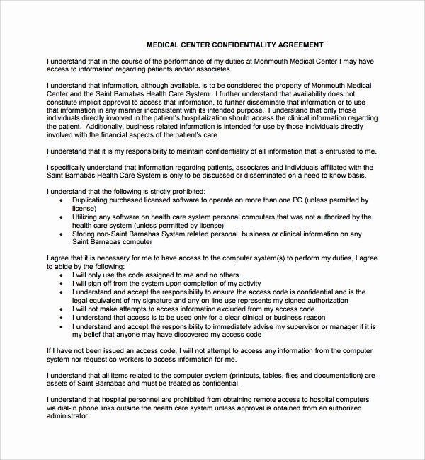 Medical Confidentiality Agreement Template Fresh 8 Medical Confidentiality Agreements