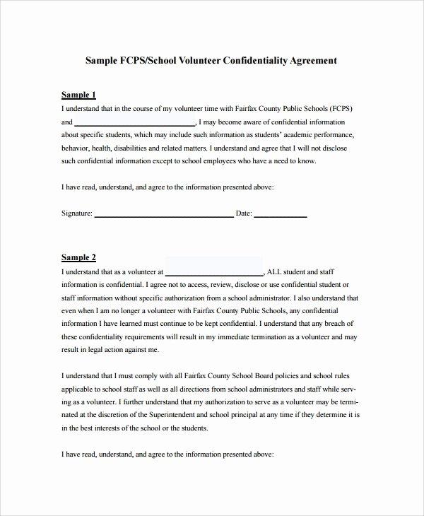 Medical Confidentiality Agreement Template Fresh 8 Sample Staff Confidentiality Agreements