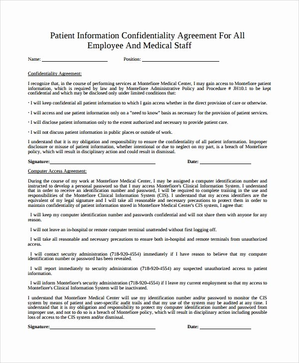 Medical Confidentiality Agreement Template Inspirational 7 Patient Confidentiality Agreements