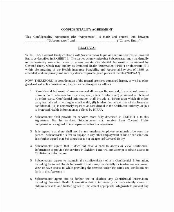 Medical Confidentiality Agreement Template Lovely 10 Medical Confidentiality Agreement Templates – Free