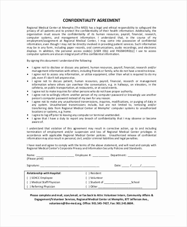 Medical Confidentiality Agreement Template Lovely 19 Confidentiality Agreement form Free Documents In