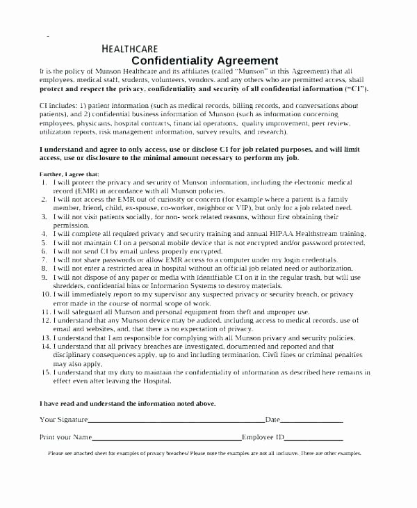 Medical Confidentiality Agreement Template Lovely Medical Confidentiality Agreement Template Printable forms