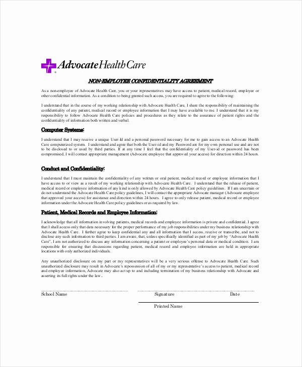 Medical Confidentiality Agreement Template New 10 Medical Confidentiality Agreement Templates – Free