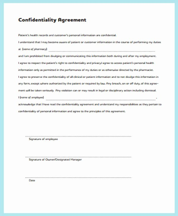 Medical Confidentiality Agreement Template New 11 Medical Confidentiality Agreement Templates Pdf
