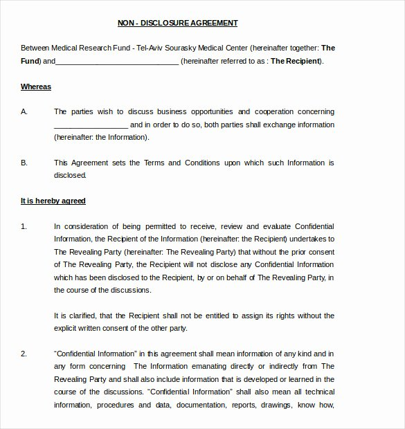 Medical Confidentiality Agreement Template New 19 Word Non Disclosure Agreement Templates Free Download