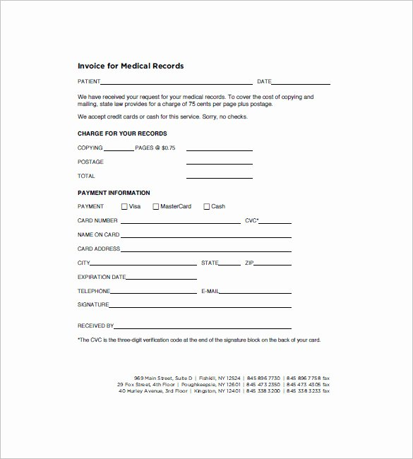Medical Record form Template Fresh 16 Medical Invoice Templates Doc Pdf