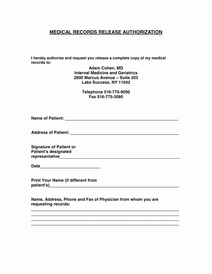 Medical Record form Template Fresh Authorization to Release Medical Records form Template