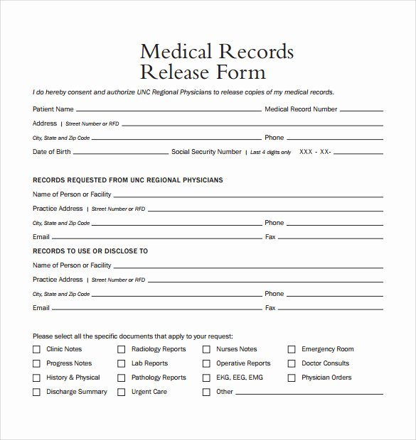 Medical Record form Template Fresh Medical Record Release form