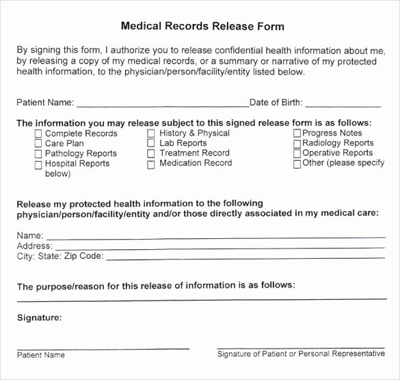 Medical Record form Template Lovely 10 Medical Records Release forms to Download