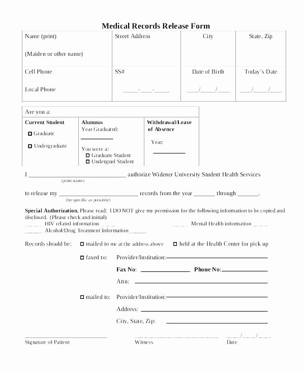 Medical Record form Template Lovely Blank Medical Records Release form – Katieburns