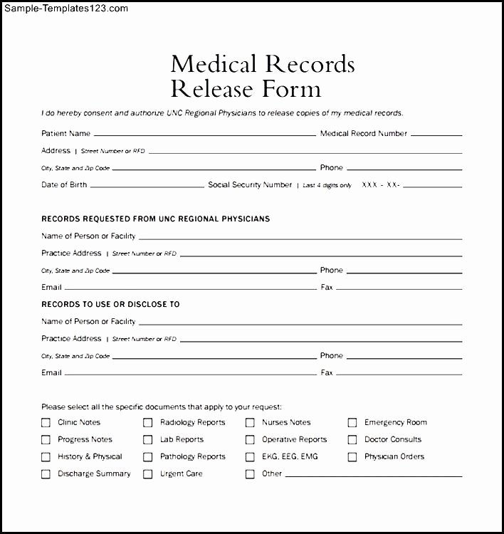 Medical Record form Template Unique Medical form Example – Templates Free Printable
