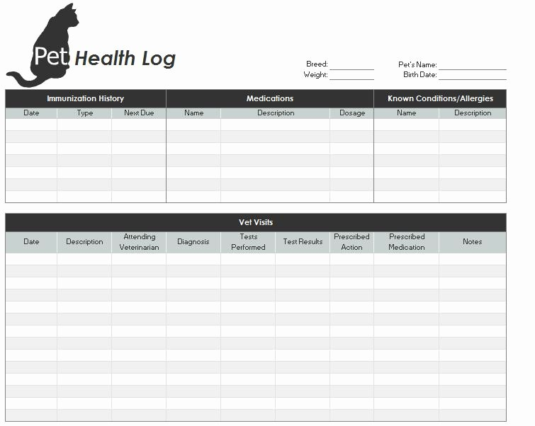 Medical Record forms Template Awesome Pet Health Record Template