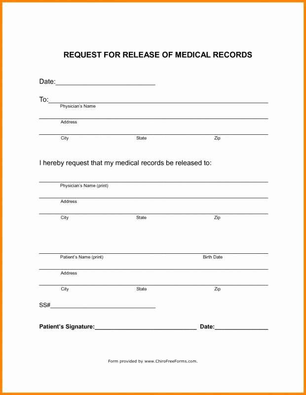 Medical Record forms Template Beautiful Blank Medical Records Release form Template