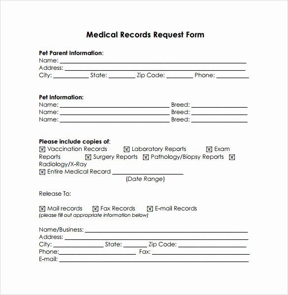 Medical Record forms Template Best Of 11 Medical Records Release forms – Samples Examples