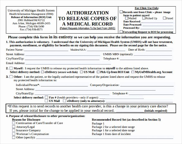 Medical Record forms Template Elegant 8 Generic Medical Records Release form