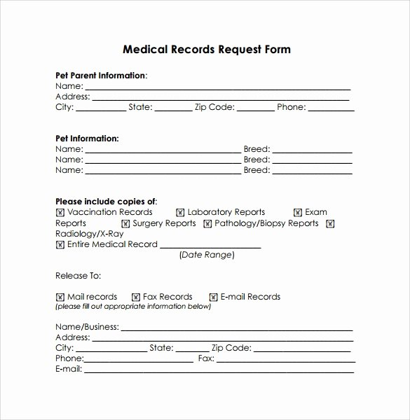 Medical Record forms Template Fresh Medical Records Request Template Invitation Template