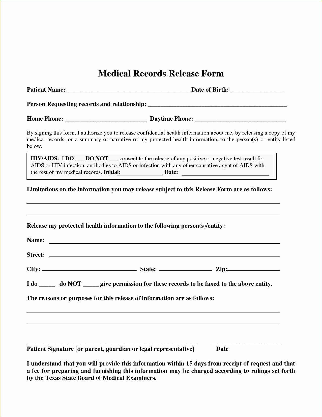Medical Record forms Template Lovely 7 Blank Medical Records Release form