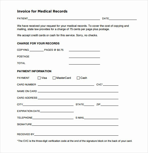 Medical Record forms Template New 9 Medical Invoice Templates – Free Samples Examples