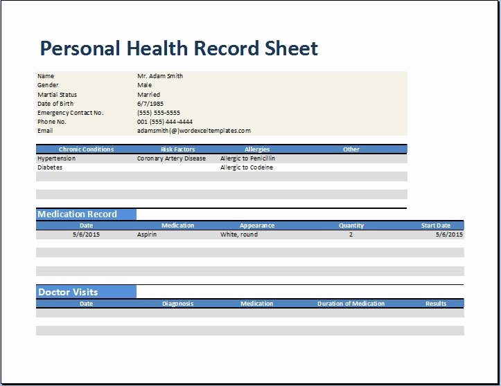 Medical Record forms Template New Personal Medical Health Record Worksheet Template