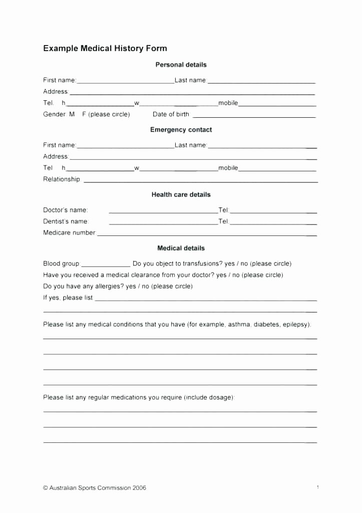 Medical Records form Template Awesome Free Personal Health Record Template