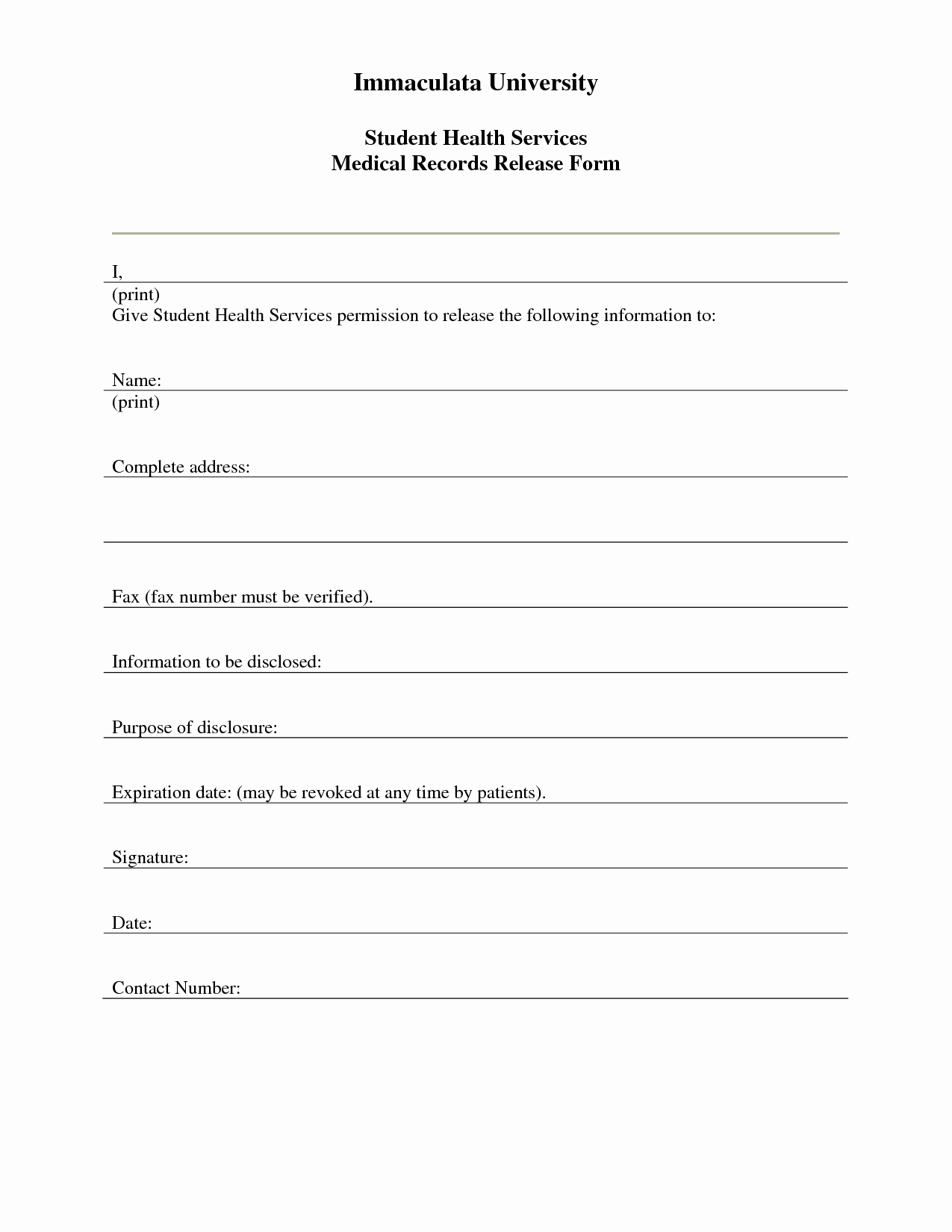 Medical Records form Template Beautiful 7 Best Of Free Printable Medical Release form