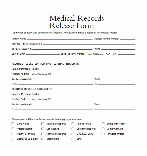 Medical Records form Template Elegant 10 Medical Records Release forms to Download