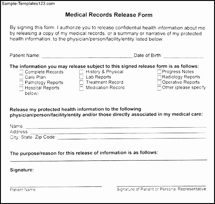 Medical Records form Template Lovely Medical Records Release form Template – Templates Free