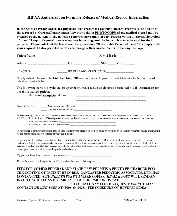Medical Records form Template New 9 Sample Medical Records Release forms