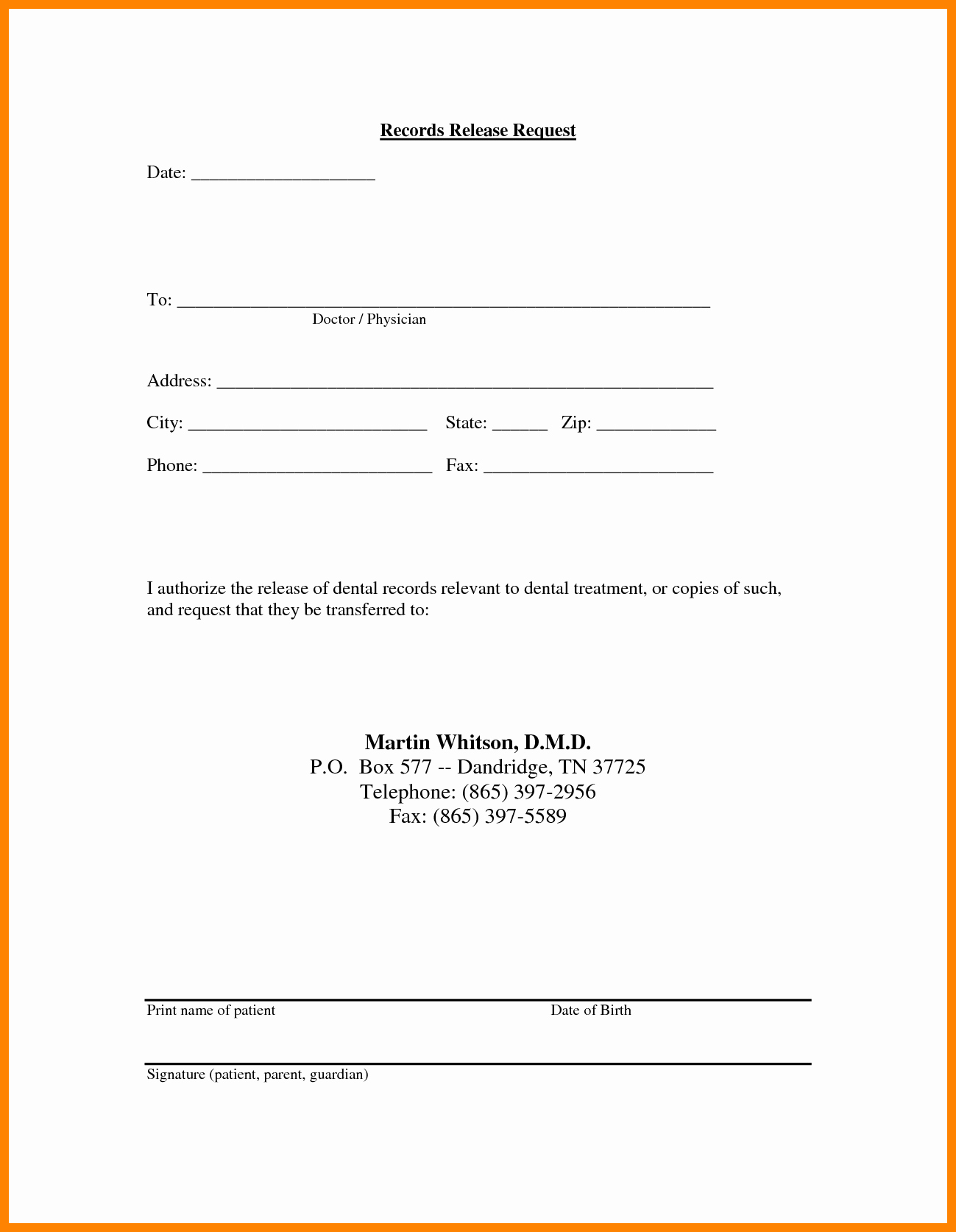 Medical Records form Template New Medical Release Information form Template