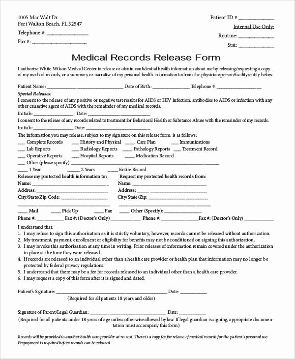 Medical Records form Template Unique 53 Generic Release forms