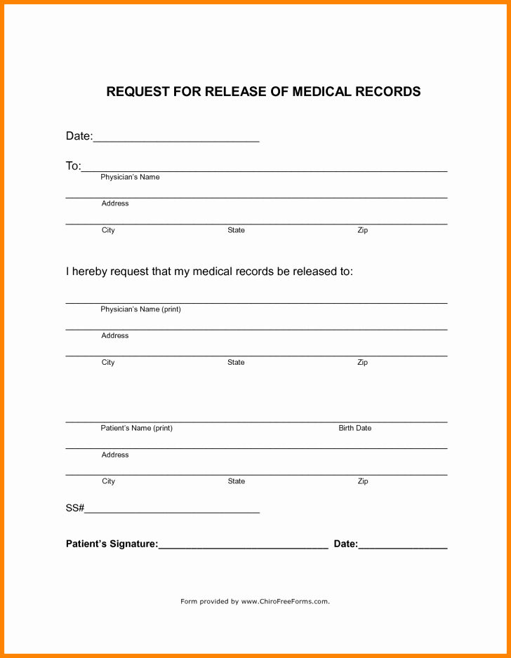 Medical Records form Template Unique form Generic Medical Records Release form