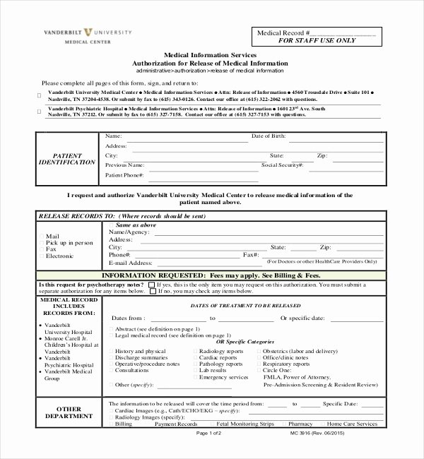 Medical Records form Template Unique Medical Records Release form California Template