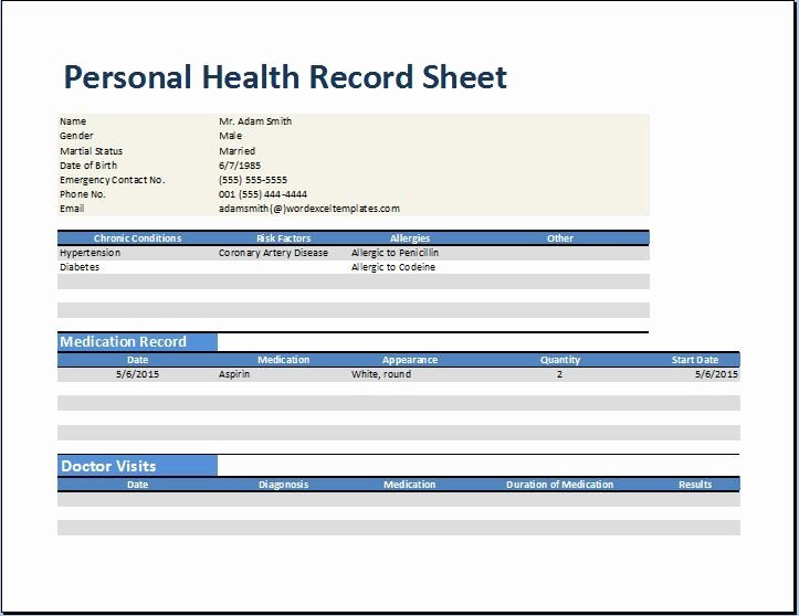 Medical Records form Template Unique Personal Family Medical Health Record Worksheet Excel