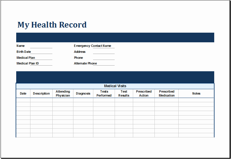 Medical Records forms Template Awesome Ms Excel Personal Medical Health Record Template