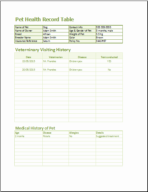 Medical Records forms Template Beautiful 20 Medical form Logs Sheets & Templates