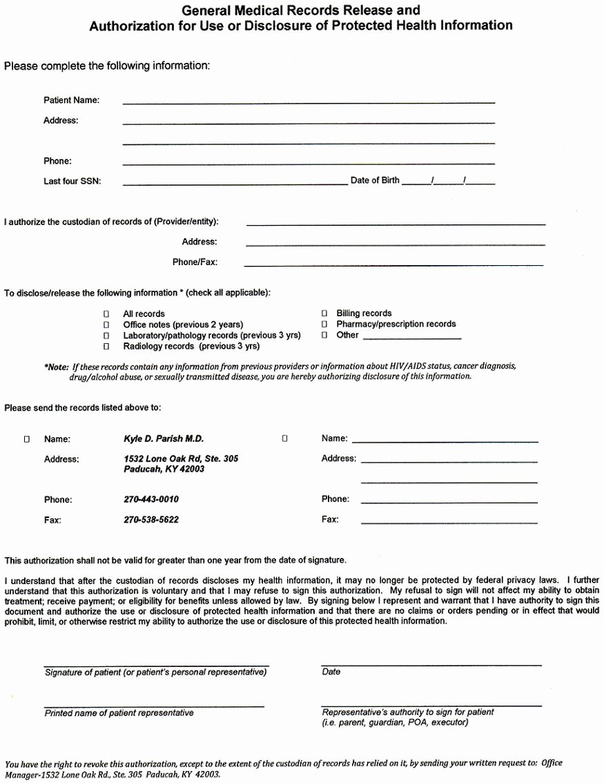 Medical Records forms Template Beautiful Emergency Release form