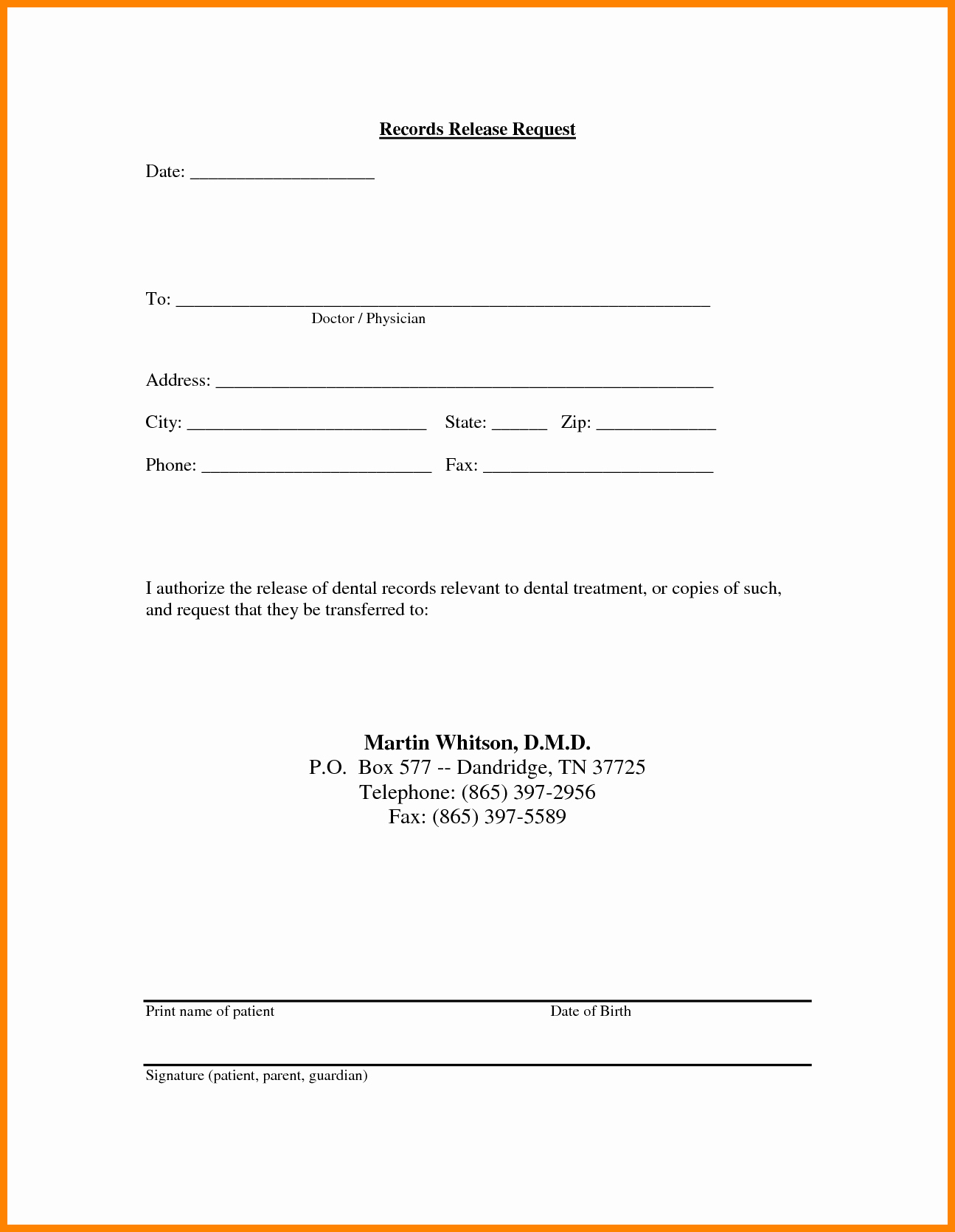 medical record release form template