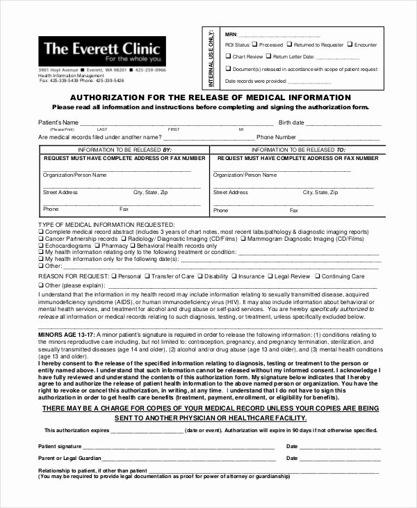 Medical Records forms Template Best Of 10 Medical Release forms Free Sample Example format